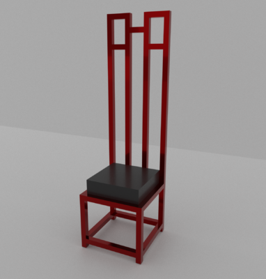 chaise mackintosh style rouge et noir fond blanc
