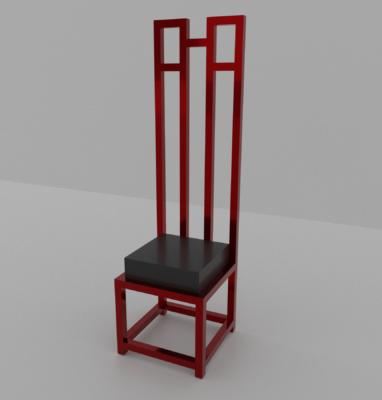 chaise mackintosh style rouge et noir fond blanc