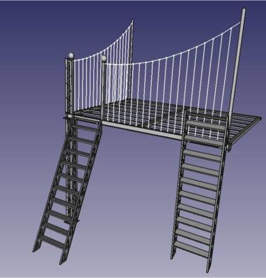 modélisation cobannos mezzanine type eiffel pont suspendu perspective2